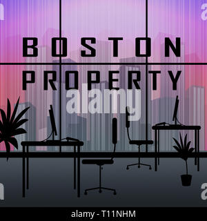 Boston Property Apartment Shows Real Estate In Massachusetts Usa. Housing Purchase Or Realty Rental 3d Illustration - Stock Image