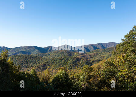 view over mountains in the fall Blue Ridge Parkway road, Asheville, NC, USA - Stock Image