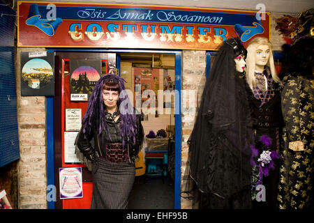 Costume maker at Whitby Goth Weekender. - Stock Image