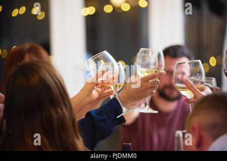 Friends toasting at dinner party - Stock Image