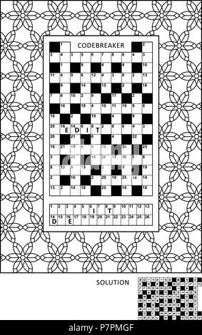 Puzzle and coloring activity page for grown-ups with codebreaker, or codeword, else code cracker word game and wide decorative frame to color - Stock Image