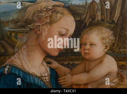 Madonna and Child with Two Angels, detail,  Filippo Lippi, 1460-1465, Galleria degli Uffizi, Uffizi Gallery, Florence, Tuscany, Italy - Stock Image