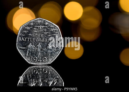 A rare 50 pence coin commemorating the 1940 Battle of Britain - Stock Image