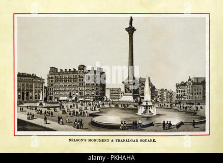 Nelson's Column, Trafalgar Square, 1880 high quality steel engraving of the monument to England's naval hero Admiral Horatio Nelson in the square which marks the centre of London - Stock Image