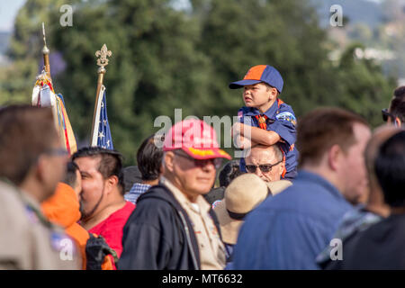 Los Angees, California USA 26 May 2018 Scouts place flags on Veteran's graves to honor them on Memorial Day. - Stock Image