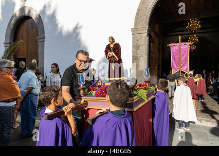 Pasión de Los Niños, Passion of the children,  Procesión de Los Pasos Chicos, Procession of the small stations of the cross,  from the church of Los O - Stock Image