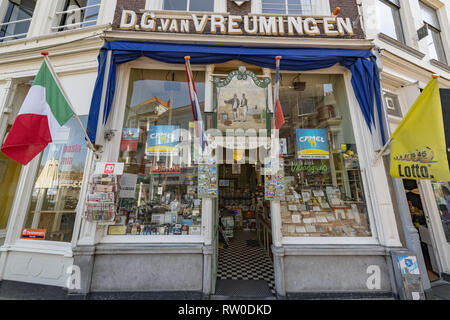 Netherlands, Gouda, 2017, The shop entrance of the oldest tobacconist in town of Gouda. 1863. With it's black and white tiling - Stock Image