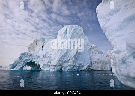 Glaciers under cloudy sky - Stock Image