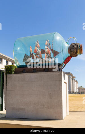 Nelson's Ship in a Bottle, HMS Victory, Yinka Shonibare, 2010–2012, National Maritime Museum, Greenwich, London, England, UK, GB, - Stock Image