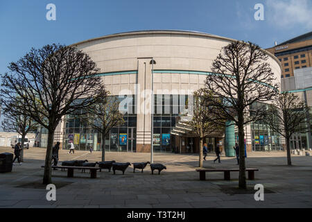 Part of the ICC Waterfront Hall Conference Centre in the centre of Belfast, Northern Ireland. - Stock Image
