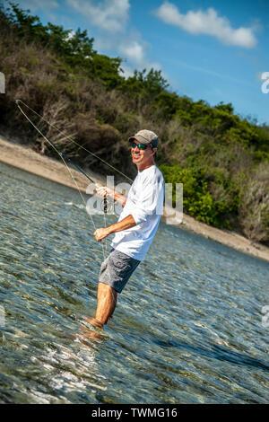 Flat water fishing, Vieques, Puerto Rico - Stock Image