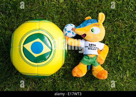 'Fuleco the Armadillo' Mascot and football for Brazil World Cup 2014. - Stock Image