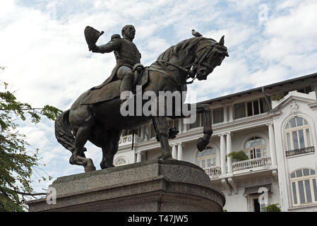 statue of general tomas herrera on the square of the same name in casco viejo panama city - Stock Image