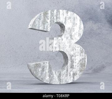 3D rendering concrete number 3 three. 3D render Illustration. - Stock Image
