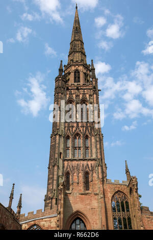 Looking up at the tower of the old Coventry Cathedral, also known as St. Michaels, which was destroyed during a bombing raid by the Luftwaffe in the S - Stock Image