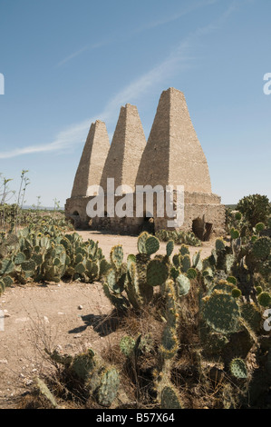 Old kilns for processing mercury, Mineral de Pozos (Pozos), a UNESCO World Heritage Site, Guanajuato State, Mexico - Stock Image