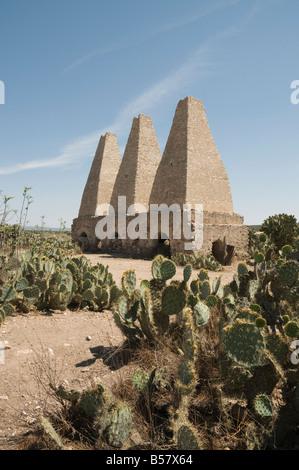 Old kilns for processing mercury, Mineral de Pozos (Pozos), a UNESCO World Heritage Site, Guanajuato State, Mexico - Stock Image
