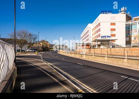 Bourges Boulevard, a main thoroughfare through Peterborough city centre, Cambridgeshire, England - Stock Image