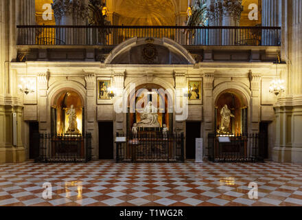 Malaga Cathedral Interior - the Chapels of the Retrochoir, Malaga Cathedral, Malaga, Andalusia Spain - Stock Image