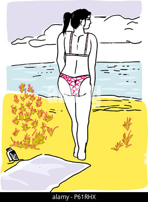 Girl in the beach.  illustration of young girl walking around seaside in the beach. - Stock Image