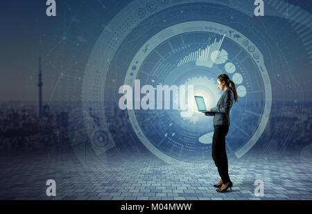 Information Communication Technology concept. Internet of Things. Smart City. Digital Transportation. mixed media - Stock Image