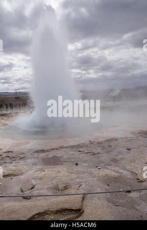 The famous geyser of Geysir, Iceland - Stock Image