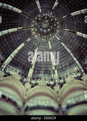 Interior dome of Gallerie Lafayette department store, Paris, France. - Stock Image