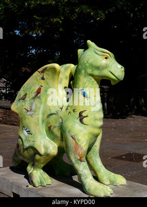 Birdie, one of the 84 Art Sculptures in the of  Go Go Dragons Trail, in Norwich, Norfolk, England, UK (2015) - Stock Image