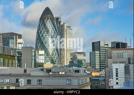 St Marys Axe or the Gerkin building dominates the London skyline - Stock Image
