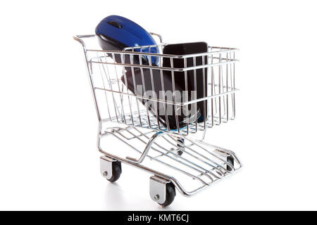 Online shopping on white background concept - Stock Image