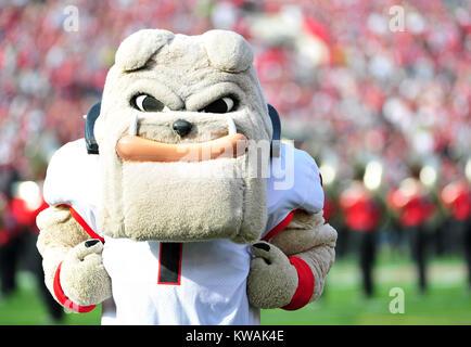 Pasadena, California, USA. 01st Jan, 2018. Georgia Mascot Hairy Dawg during the 2018 Rose Bowl semi-final game between - Stock Image