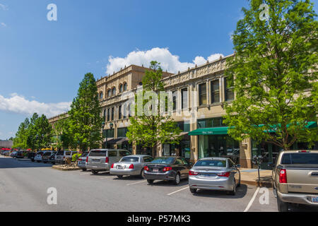 ASHEVILLE, NC, USA-24 JUNE 18: The Grove Arcade, comprising an entire block, and dominating the downtown area. - Stock Image