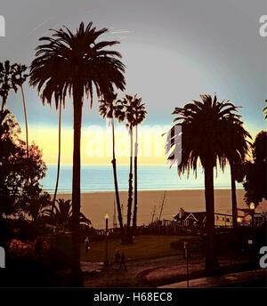 Twilight in Santa Monica, Los Angeles, California, photography digitally adjusted. - Stock Image