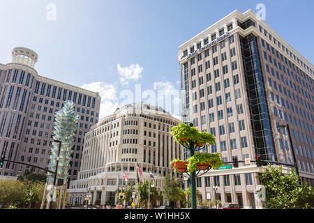 Orlando Florida Orange Avenue downtown skyline City Hall office building RBC Centura Bank business district government Tower of - Stock Image