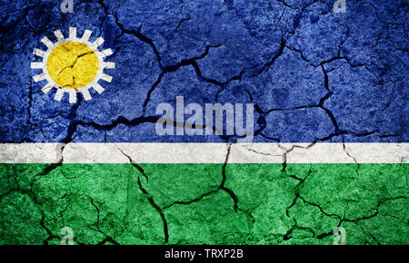 Portuguesa State flag, state of Venezuela, on dry earth ground texture background - Stock Image