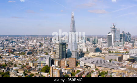 London City Panoramic Aerial View around Famous Glass and Steel Tower The Shard, most recognizable Skyscrapers and Iconic St. Paul's Cathedral UK - Stock Image