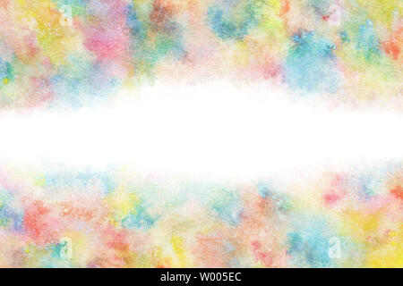 Colorful summer watercolor rainbow abstract or natural vintage background - Stock Image