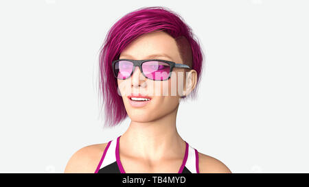 Girl with short purple hair and sunglasses, headshot portrait of a young woman isolated on white background, 3D rendering - Stock Image