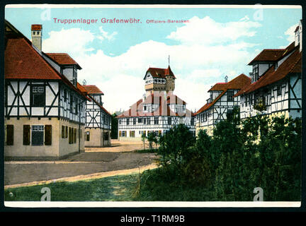Germany, Bavaria, Grafenwöhr, army barracks for officers, coloured postcard, published by Hans Spahn, Grafenwöhr, 1910th?. , Additional-Rights-Clearance-Info-Not-Available - Stock Image