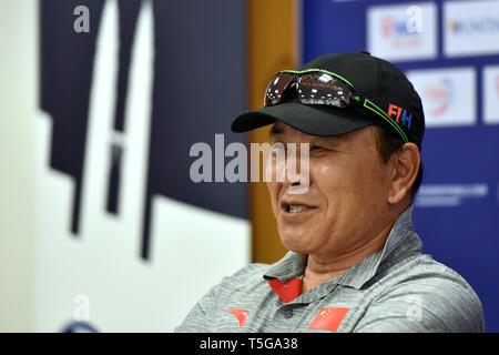 Kuala Lumpur. 24th Apr, 2019. Chinese team head coach Kim Sang Ryul attends the press conference ahead of the FIH Men's Series Finals Kuala Lumpur 2019 match in Kuala Lumpur, April 24, 2019. Credit: Chong Voon Chung/Xinhua/Alamy Live News - Stock Image