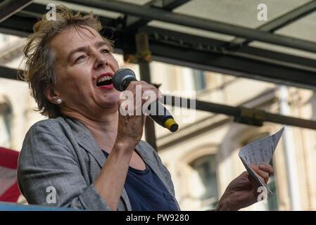 London, UK. 13th October 2018.  Kate Hudson of CND speaks at the rally in London to oppose racism  and fascism close to where the racist, Islamophobic DFLA were ending their march on Whitehall bringing together various groups to stand in solidarity with the communities the DFLA attacks. The event was organised by Stand Up To Racism and Unite Against Fascism. Peter Marshall/Alamy Live News - Stock Image