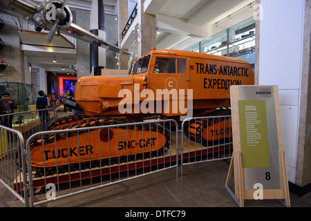 Trans-Antarctic expedition truck in the Science Museum, London, - Stock Image