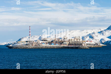 Natural gas is processed into liquefied natural gas at the station on Melkøya island, northern Norway, operated - Stock Image