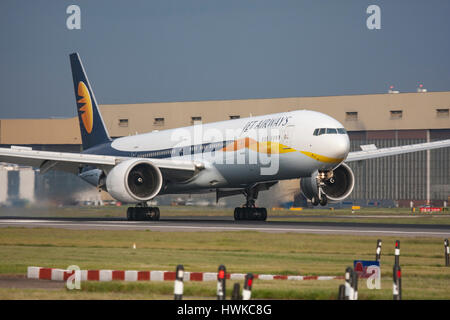 Jet Airways Boeing 777 touching down at London Heathrow Airport, UK - Stock Image
