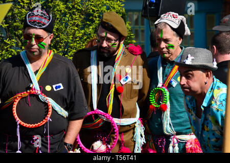 The yarn bombers team taking part in the annual Good Friday Marbles Competition in fancy dress in Battle Market Square, Battle, East Sussex, UK - Stock Image