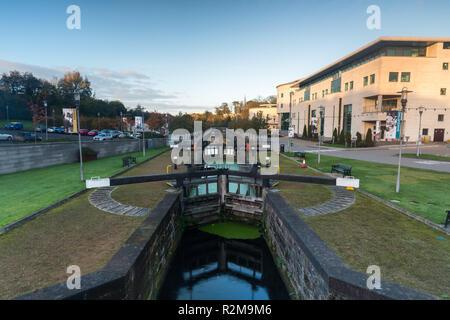 Canal Locks and Civic Centre at Lagan Valley Island, Lisburn, County Antrim, N.Ireland. - Stock Image