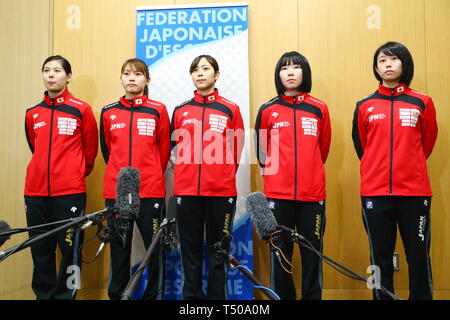 Ajinomoto National Training Center, Tokyo, Japan. 19th Apr, 2019. (L-R) Karin Miyawaki, Sera Azuma, Komaki Kikuchi, Yuka Ueno, Sumire Tsuji (JPN), APRIL 19, 2019 - Fencing : Japan National Team Training Session at Ajinomoto National Training Center, Tokyo, Japan. Credit: Naoki Nishimura/AFLO SPORT/Alamy Live News - Stock Image