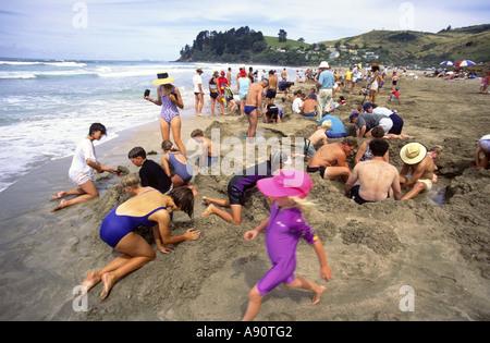 new zealand Coromandel Hot water beach kids - Stock Image