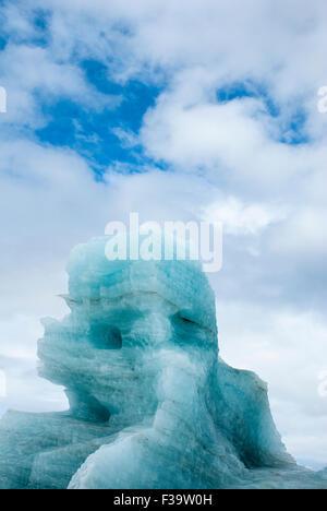 Iceberg in Krossfjord, Spitsbergen, Svalbard Archipelago, Norway - Stock Image