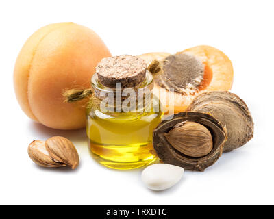 Apricot kernel oil and apricot kernels isolated on the white background. - Stock Image